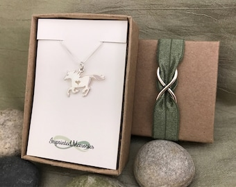 Horse Necklace Sterling Silver Horse with Heart - Horse Jewelry - Equestrian Necklace - Gift for Horse Lover Cowgirl Necklace Cowboy Jewelry