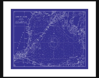Blueprint map etsy lake st clair blueprint map poster print malvernweather Gallery