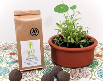 Seedballs 'edible flowers', 3 or 10 Pack of Seedbombs with flower seeds, whose Blüten are edible