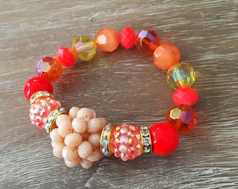 Stretch Bead Bracelet – Large Bead Bracelet Pink, Orange and Yellow, Our Top Selling Bracelet for Spring 2018