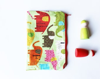 Elephant canvas zip pouch OOAK