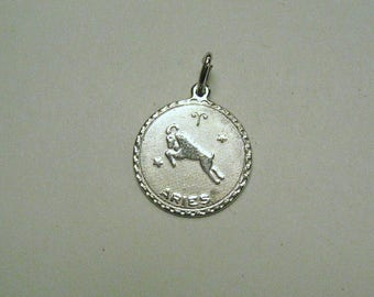 """Aries Zodiac Astrology pendant White gold filled  12kt. 3/4"""" disc. BB 18"""