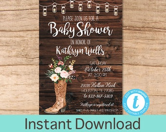 Rustic Baby shower invitation, Floral Boots Watercolor Baby Shower Invitation, Country Western baby shower Invitation, Instant Download