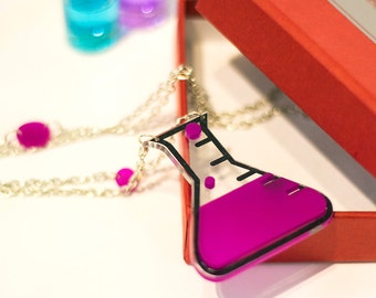 Geek Jewelry,Love Potion Necklace,Back to school Jewelry,Lasercut Acrylic