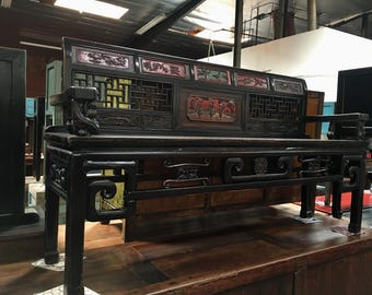 FREE SHIPPING WITHIN U.S.-Antique Asian Bench in Black (Los Angeles)