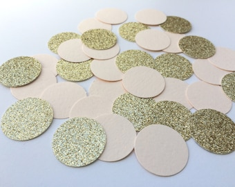 BLUSH and GOLD Glitter Confetti.  Circle Confetti for Weddings, Table Decor, Bridal Showers, Birthday Parties