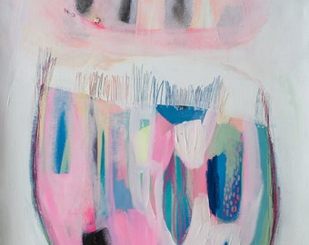 """ABSTRACT print of painting, giclee print, acrylic painting, pink, white, modern painting """"Bell on a Shelf"""""""