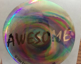 Vintage Holographic Awesome Sticker
