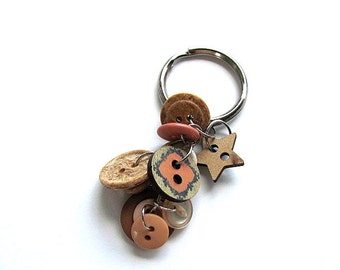 Button Key Chain Ring FREE US Shipping