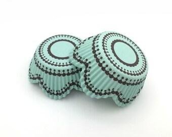 Light Blue Floral Shape Cupcake Liners (50)