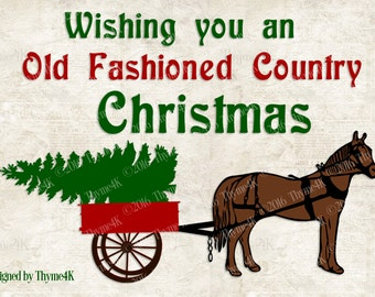 "SVG Digital Design ""Country Christmas"" Instant Download- Includes svg, png, jpeg, dxf, & eps formats."