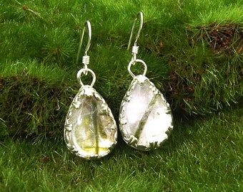 Handmade Epidote and Quartz Earrings, Epidote Crystal Earrings, Gemstone Earrings, Silver and Stone Earrings, Reiki Earrings
