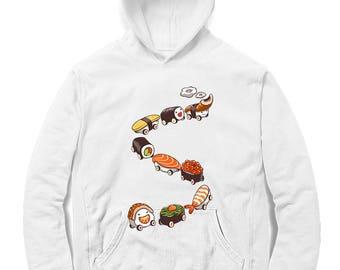 Romantic Nigiri Sushi and Funny Sleep Walk Tamago – Men, Women, Kids French Terry Sweat Shirt, Graphic Pullover Sweater, Sweatshirt, Gift