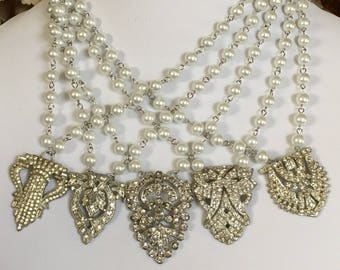 Vintage Rhinestone Dress Clip and Pearl Necklace