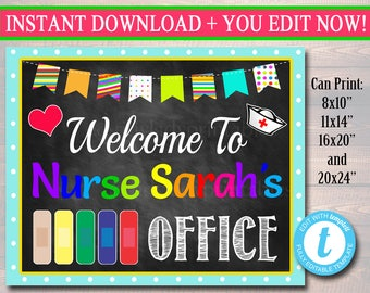 school nurse door sign pediatric nurse door sign back to school nurse door hanger nurse office decor nurse art personalized nurse sign