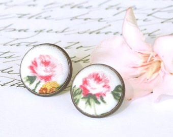 Pastel Rose Stud Earrings - Shabby Romantic Chic Studs - Pink and Green Flowers on White Earrings - Fabric Buttons Jewelry - Antique Posts