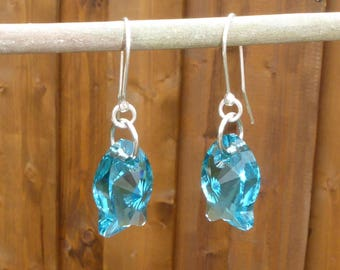 Turquoise Sterling Silver earrings, Swarovski Crystal fish turquoise blue and silver, Bohemian, dangle earrings Bohemian