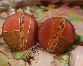 Vintage Round Earth Tone Colors Autumn Geometric Enamel  Stud Earrings