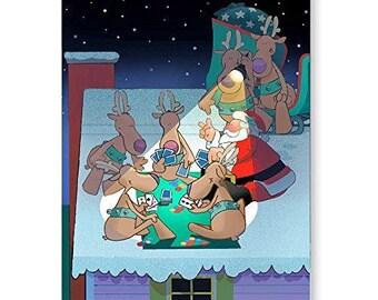 Rooftop Poker Break Christmas Card - 18 Cards & Envelopes - KX19