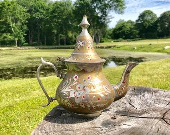 brass teapot made in India vintage boho bohemian decor ornate kettle vessel