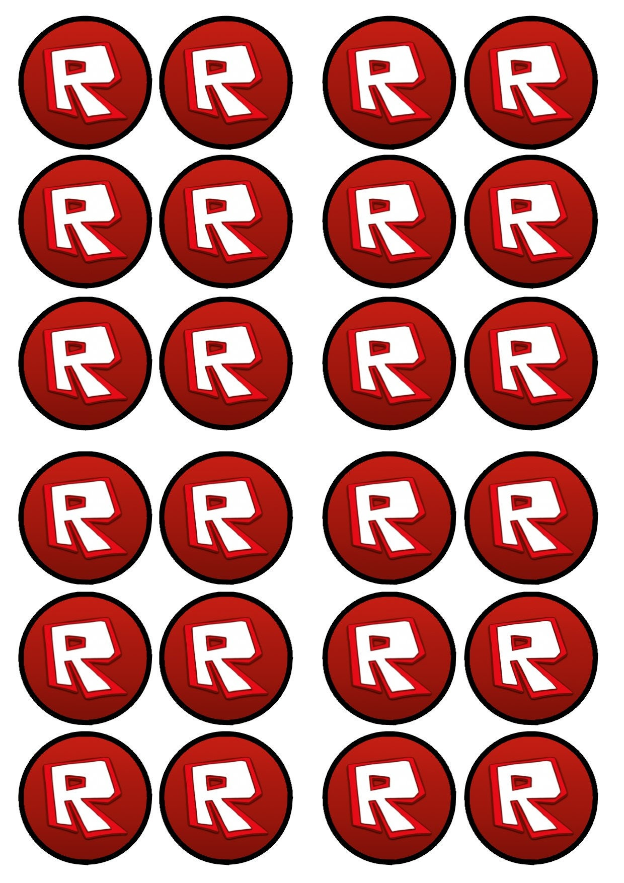Roblox Logo Edible Wafer Rice Paper Cake Cupcake Toppers X