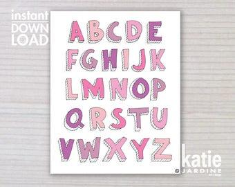 alphabet print - ABC print -  kids wall art - girls ABC - 8x10 print - instant art - printable art - freehand text - pink ABC