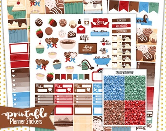 Fall in Chocolate Deluxe Weekly Kit | PRINTABLE Planner Stickers | Pdf, Jpg, and Png Format | Vertical Planner Stickers