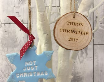 Baby's First Christmas, Personalised Christmas tree decoration, rustic Christmas, Engraved log slice