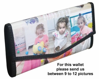 Personalized LARGE size snap wallet using pictures from you - FREE SHIPPING - gift gifts for mom girlfriend custom personal wallet purse bag