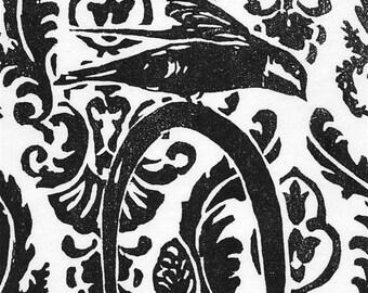 Tree Swalow with Teapot, handmade woodblock print on Japanese Kozoshi paper