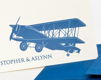 Airplane Personalized Stationery Set (20) plus Matching Address Labels