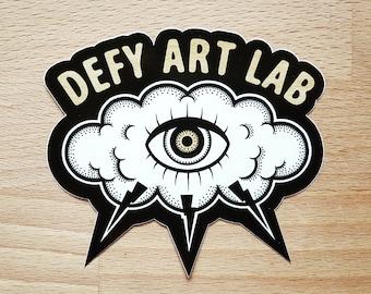 Custom Shape Vinyl Sticker: Cloud & All Seeing Eye Logo