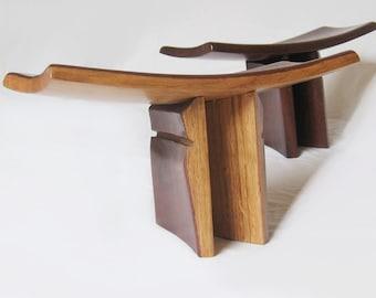 Pi, meditation stool, yoga seat, recycled oak wine barrel staves.