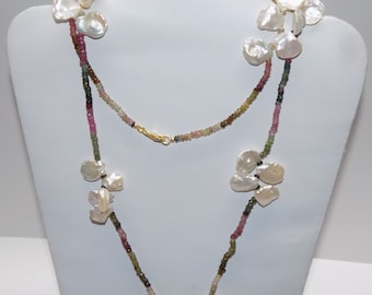 "Tourmaline and Pearl Long 34"" Beaded Necklace"