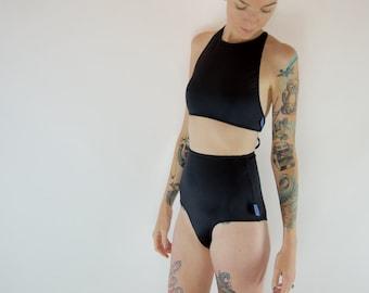 Swimwear // Black halter & high waist bikini set
