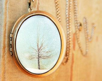 SALE - Tree photography photo locket winter photo showflakes - Lone Tree - Fine Art Photo Locket Necklace - Grande Edition tree in winter