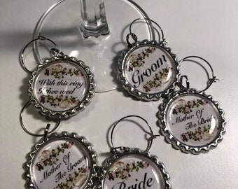 Wedding Flattened Bottle Cap Wine Charms, Wine Accessories, Party Favors, Bunco Prize, Stocking Stuffers - Set of 5