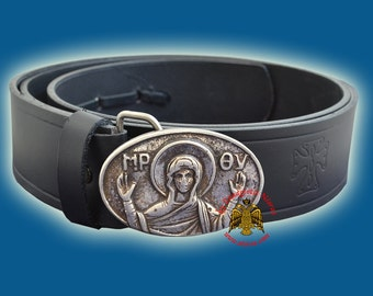 Monastic Orthodox Leather Belt with Metal Buckle With Religious Representations Icons Nickel Plated No.6567-00