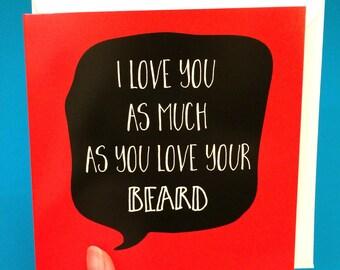 Beard birthday card for him, funny beard card for boyfriend birthday card, husband birthday card fiance
