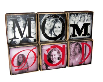 Photo Gift MOM Wood- PERSONALiZED Photo Gift- Photo Letter Blocks- MOM Dad POP Sis- set of Three