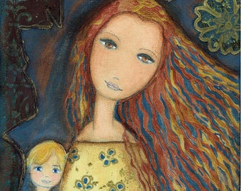 Mother with Blonde Boy - Aceo Giclee print mounted on Wood (2.5 x 3.5 inches) Folk Art  by FLOR LARIOS
