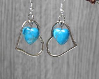 Open Heart Earrings - Double Heart Earrings - Turquoise Heart Earrings  - Silver Heart Hoop Earrings -  Beaded Heart Earrings - Gift For Mom