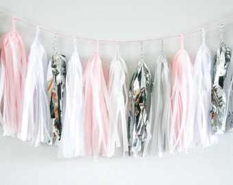PINK PEARL  tissue tassel garland party decoration