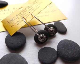 Lake Superior BASALT Zen Stone HOOP Earrings Handcrafted w Tibetan Silver Bead