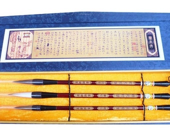 Free Shipping Chinese Calligraphy Material  Pure Weasel + Rat Whisker + Goat Weasel Combined Brush Present Set / ZYZB 0068P