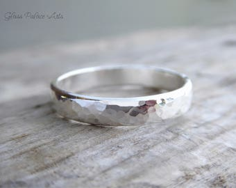 Men's Sterling Silver Ring, Men's Wedding Band, Gift For Dad, Hammered Wedding Band, Gift For Father, Men's Promise Ring, Gift For Men