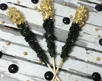 12 Black Gold Rock Candy Sugar Sticks Bridal Wedding Favors Party Sweets Table Candy Buffet Corporate Event Gluten Free
