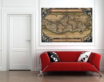 1564 World Map Theatrum Orbis Terrarum Canvas Print 36 x 24 Archival Canvas