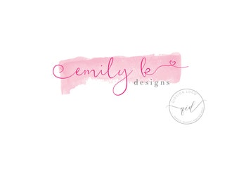 Premade Logo Shop Icon Shop marketing Small business branding Simple logo design Pink watercolour logo packages