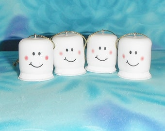 Set of Four ~ Cute Fun! Marshmallows Happy Winter ~ Custom Custom Ornaments